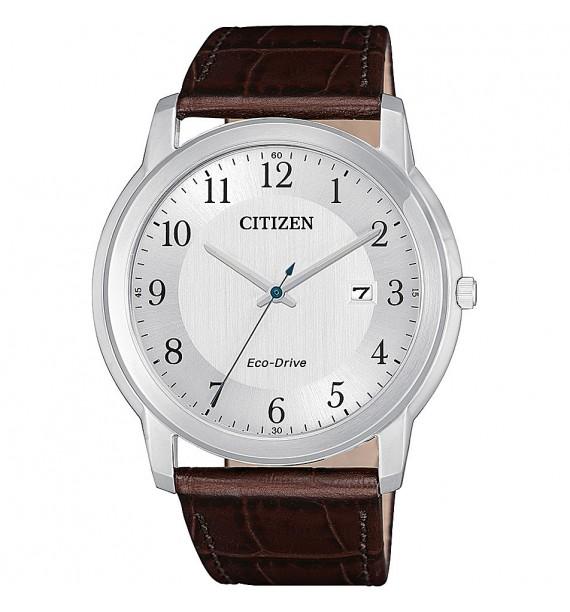 CITIZEN - Orologio in acciaio e pelle fondo silver - Evergreen