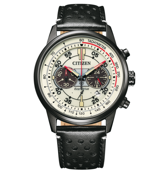 CITIZEN - Orologio Chrono in acciaio e pelle fondo beige - Crono Racing