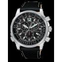 CITIZEN - Orologio Chrono in acciaio e pelle fondo nero - Crono Pilot Acciaio