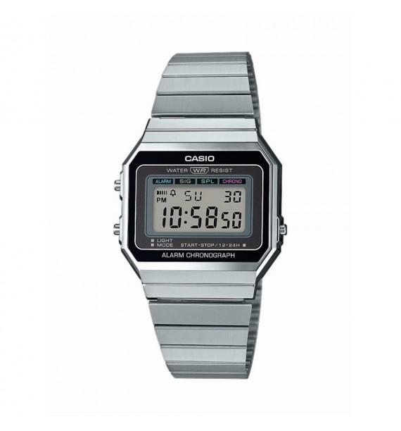 CASIO Vintage orologio in acciaio e resina fondo nero - Edgy