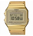 CASIO Vintage orologio in acciaio placcato e resina fondo dorato - Edgy