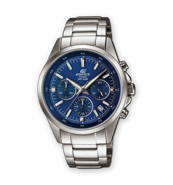 CASIO Edifice orologio Chrono in acciaio fondo blu - Classic Collection