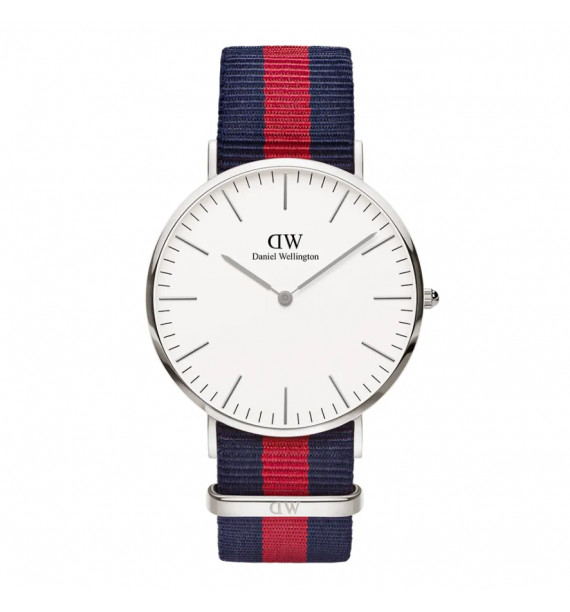 DANIEL WELLINGTON Classic orologio in acciaio e stoffa fondo bianco - Oxford