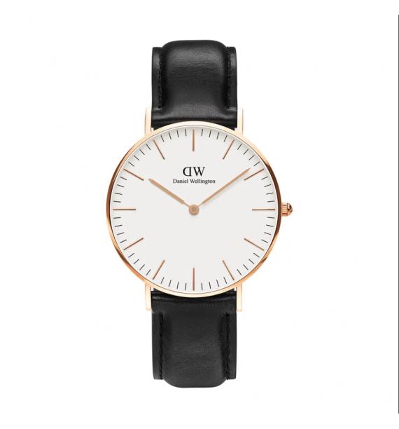 DANIEL WELLINGTON Classic orologio in acciaio e pelle fondo bianco - Sheffield
