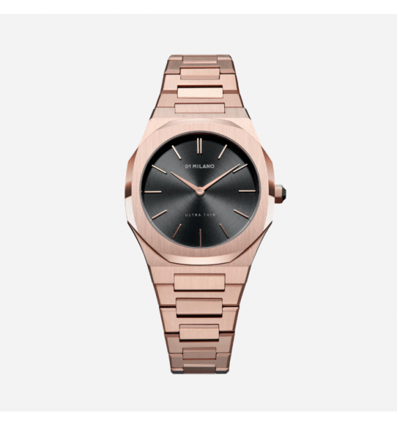 D1 MILANO Ultra Thin Bracelet orologio in acciaio fondo antracite - Rose Night