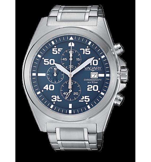 VAGARY Explore - Orologio cronografo in acciaio fondo blu - Crono