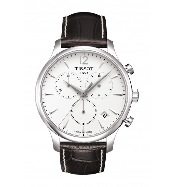 TISSOT - Orologio cronografo in acciaio inox e pelle fondo silver - Tradition