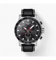 TISSOT - Orologio cronografo in acciaio inox e pelle fondo nero - Supersport