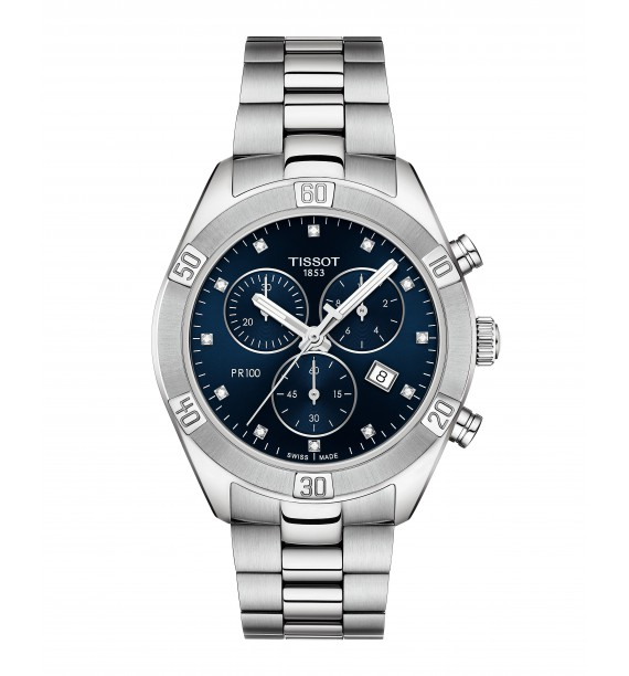 TISSOT - Orologio cronografo in acciaio inox fondo blu - PR 100 Sport Chic