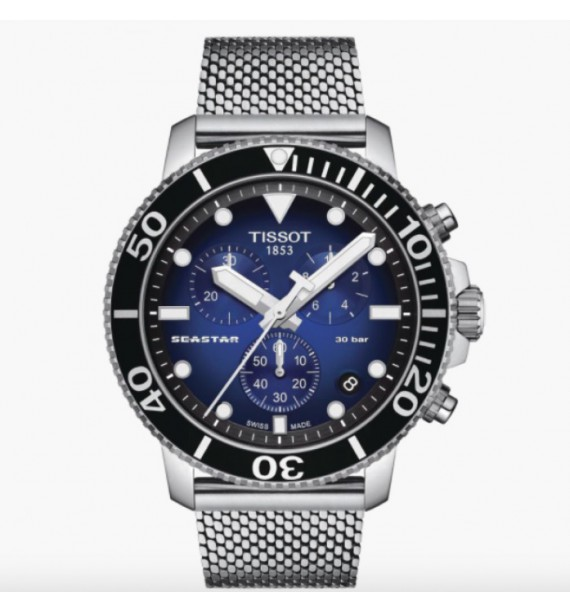 TISSOT - Orologio cronografo in acciaio inox fondo blu sfumato - Seastar 1000