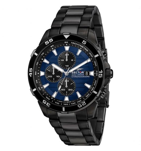 SECTOR - Orologio cronografo in acciaio nero fondo blu - ADV2500